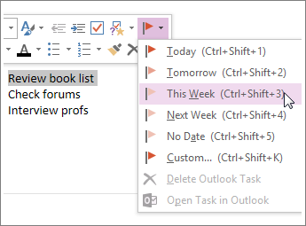 Puede crear una tarea que puede seguir en Outlook.