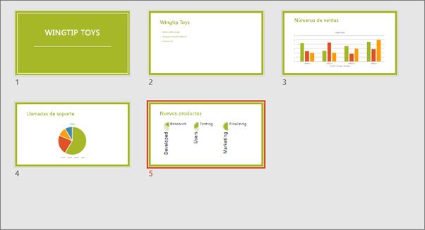 Muestra la vista Clasificador de diapositivas en PowerPoint.