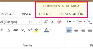 Imagen de la pestaña Diseño en Herramientas de tabla en Word Online