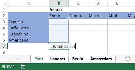 Fórmula en la hoja de cálculo de París.