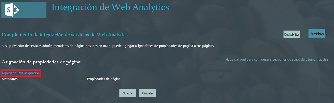 Captura de pantalla que muestra el vínculo al que hacer clic cuando desee asignar una propiedad de metadatos