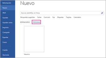 La pestaña Personal mostrará su plantilla personalizada después de hacer clic en Archivo > Nuevo
