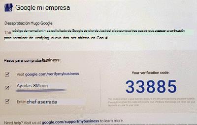 Captura de pantalla: Microsoft Listings - Compruebe la postal de Google de empresa