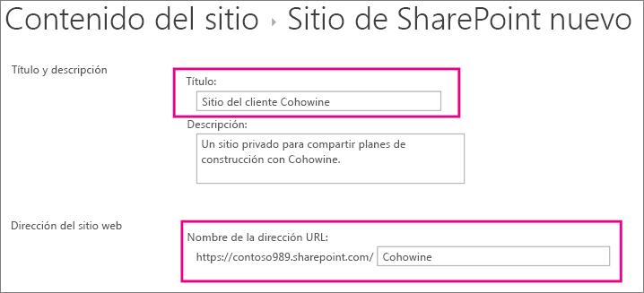 En el cuadro Título, escriba un nombre para el subsitio y, en el cuadro Dirección URL, escriba el nombre del cliente para agregarlo a la dirección URL del sitio.