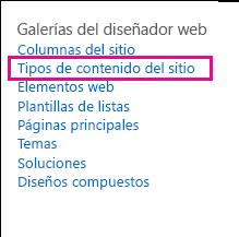 Vínculo de Tipos de contenido de sitio en la página Configuración del sitio