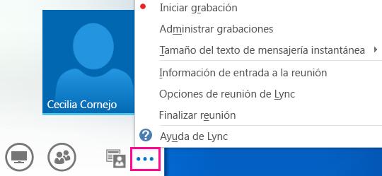 Captura de pantalla de la opción Más opciones en una reunión de Lync