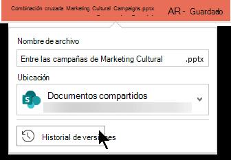 Seleccione el nombre de archivo en la barra de título para obtener acceso al historial de versiones del archivo.