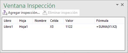 Barra de herramientas de ventana Inspección