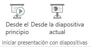 Iniciar la presentación, cambiando a la pestaña Vista y eligiendo uno de los botones Iniciar presentación con diapositivas.