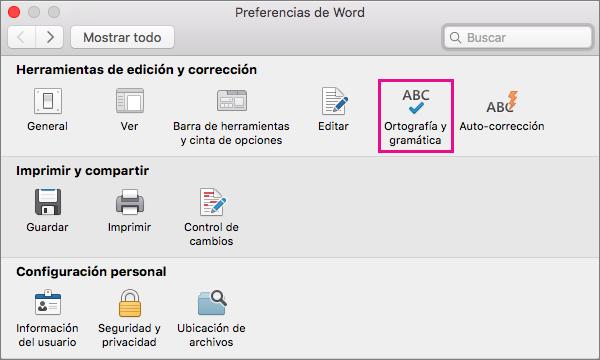Haga clic en Ortografía y gramática para cambiar la configuración de revisión de la ortografía y la gramática.