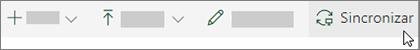 La barra de herramientas de SharePoint Online con la opción de sincronización seleccionada