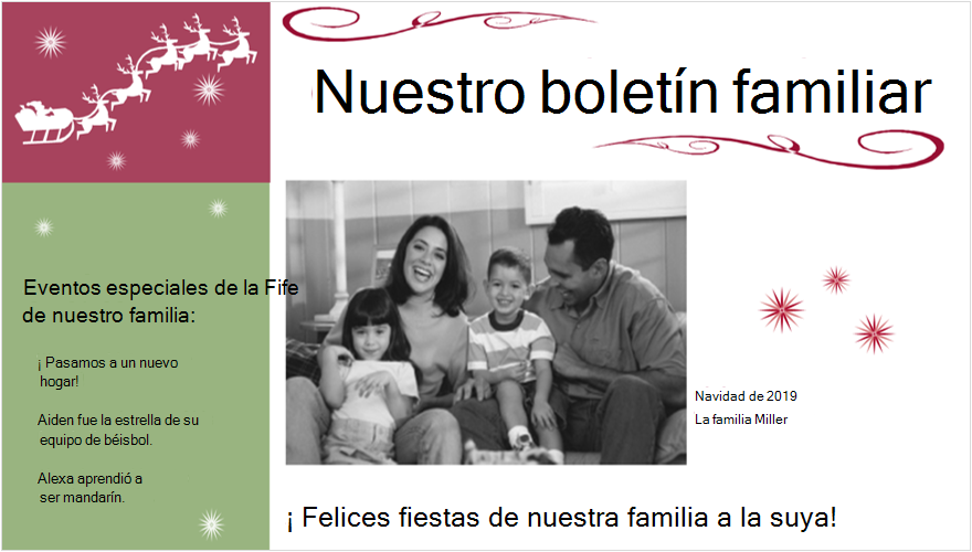 Imagen de un boletín de la familia de días festivos con fotografía