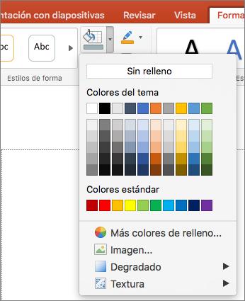 En la captura de pantalla, se muestran las opciones disponibles del menú Relleno de forma, entre las cuales se incluyen Sin relleno, Colores del tema, Colores estándar, Más colores de relleno, Imagen, Degradado y Textura.