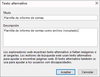Cuadro de diálogo Agregar texto alternativo a la copia impresa de un archivo