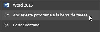 Seleccione Anclar este programa a la barra de tareas