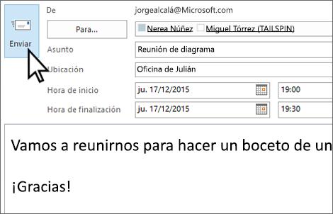 Enviar una invitación cara a cara por correo electrónico