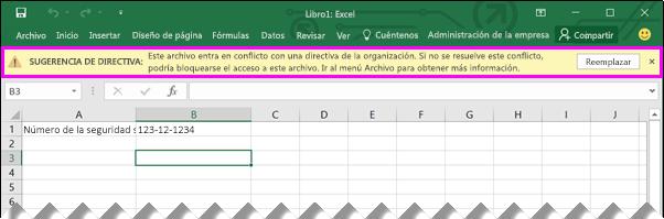 La barra de mensajes muestra sugerencia de directiva en Excel 2016