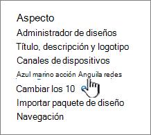 Elementos de navegación en el menú de configuración del sitio