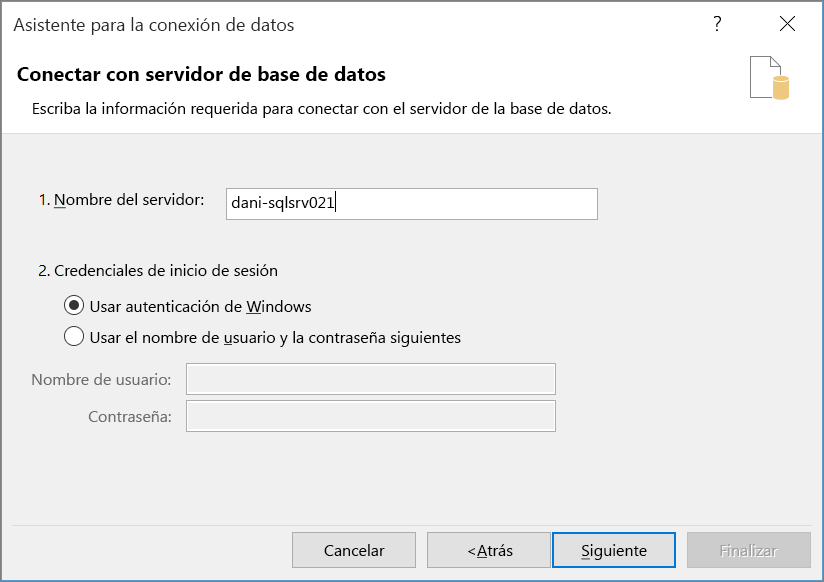 Conectarse al servidor de bases de datos