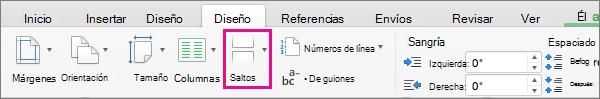 Haga clic en Saltos para elegir el tipo de salto de página que se insertará en la posición actual del cursor.