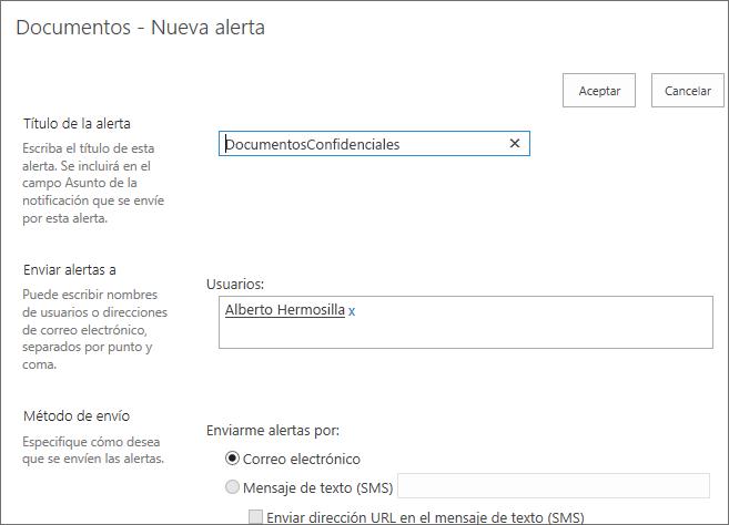 Configuración de alertas de biblioteca