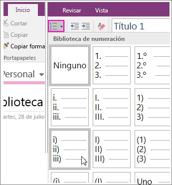 Captura de pantalla de cómo agregar numeración a una página en OneNote 2016.