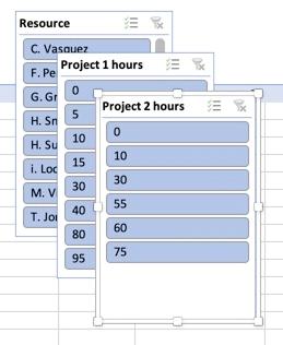 Segmentaciones de tablas dinámicas en Excel para Mac.