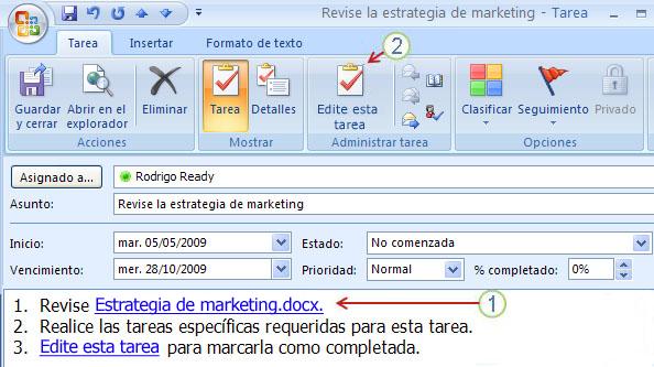 Tarea abierta: 1 Hipervínculo a Marketing strategy.docx, 2 Botón Editar esta tarea, cuadro Estado No comenzada