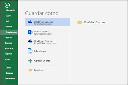 Opciones para guardar en Office 2016