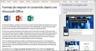 Un documento a la izquierda y el panel Transformar en página web a la derecha
