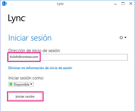 Sección de ventana de inicio de sesión de Lync con Eliminar info. de inicio de sesión resaltado