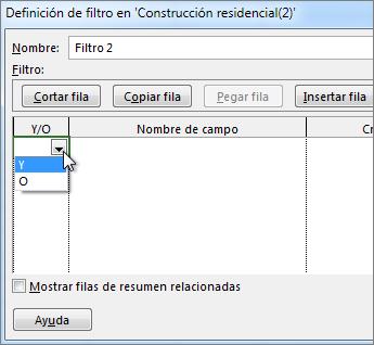 Elija Y u O, en función del tipo de resultado que desee del filtro.