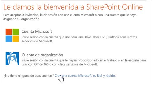Una captura de pantalla donde se muestra la pantalla de inicio de sesión de SharePoint Online, con el vínculo para crear una cuenta de Microsoft seleccionado.