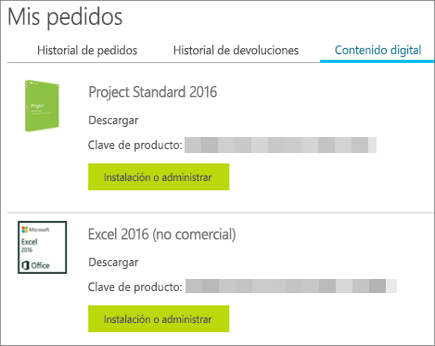 Se muestra la clave del producto en Microsoft Store, en la página Contenido digital.