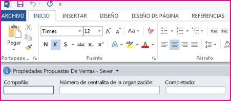 El Panel de información del documento muestra cuadros de texto en un formulario para recopilar metadatos de los usuarios