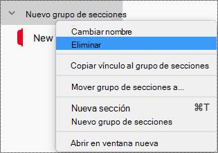 Eliminar un grupo de secciones en OneNote para Mac