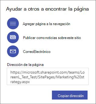 Opciones para ayudar a otros usuarios a encontrar la página.