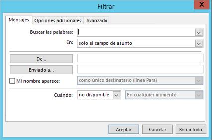 Elija Filtro si solamente desea importar determinados mensajes de correo electrónico.