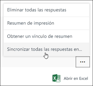 """Opción """"Sincronizar todas las respuestas en un nuevo libro"""" en Microsoft Forms"""