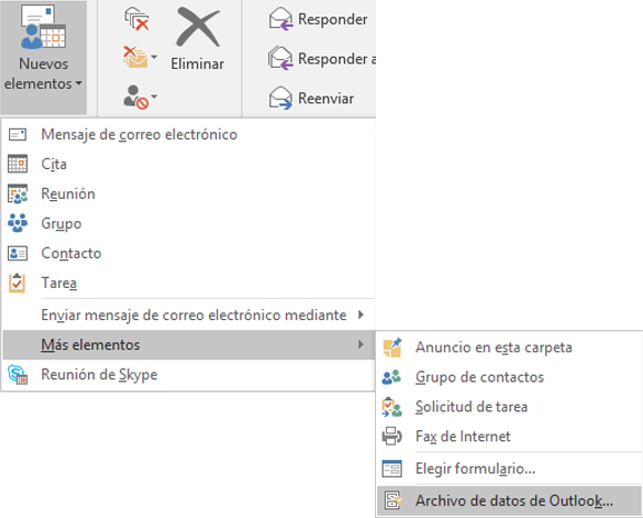 Crear un archivo de datos de Outlook