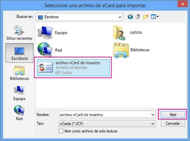Elija el archivo vCard que desea importar al archivo CSV.
