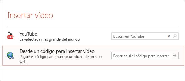 Muestra la opción Insertar vídeo en PowerPoint