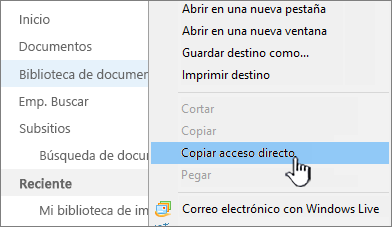 Haga clic con el botón derecho en la biblioteca de inicio rápido, seleccione Copiar acceso directo