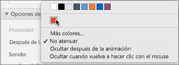 Después de las opciones de animaciones en el panel de propiedades de Animaciones