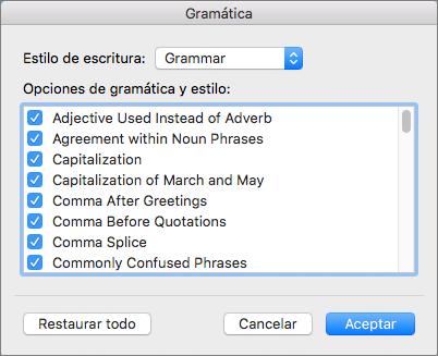 En Configuración de gramática, seleccione las categorías de problemas que Word comprueba.