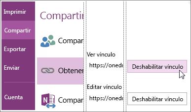 Captura de pantalla de cómo deshabilitar un vínculo en OneNote 2016.