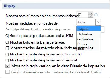 Captura de pantalla muestra la opción seleccionada para mostrar la regla vertical en vista Diseño de impresión y opciones de unidades de medida, como pulgadas o centímetros