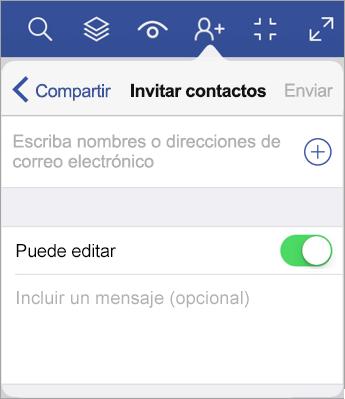 Escriba los nombres o direcciones de correo electrónico e invite a otras personas a ver su diagrama en Visio Viewer para iPad.
