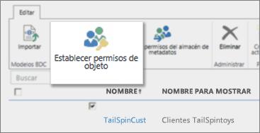 Captura de pantalla del centro de administración de SharePoint Online bajo los BCS donde aparece el botón Establecer permisos de objeto en la cinta de opciones.