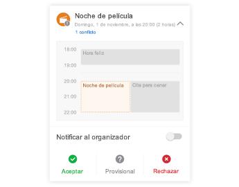 Invitación a reunión con un minicalendario en la parte superior, una sección para comentarios en el centro y botones de respuesta en la parte inferior.